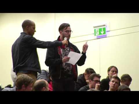 Former FIFA president sepp blatter is heavily criticised by university student in Basel, Switzerland