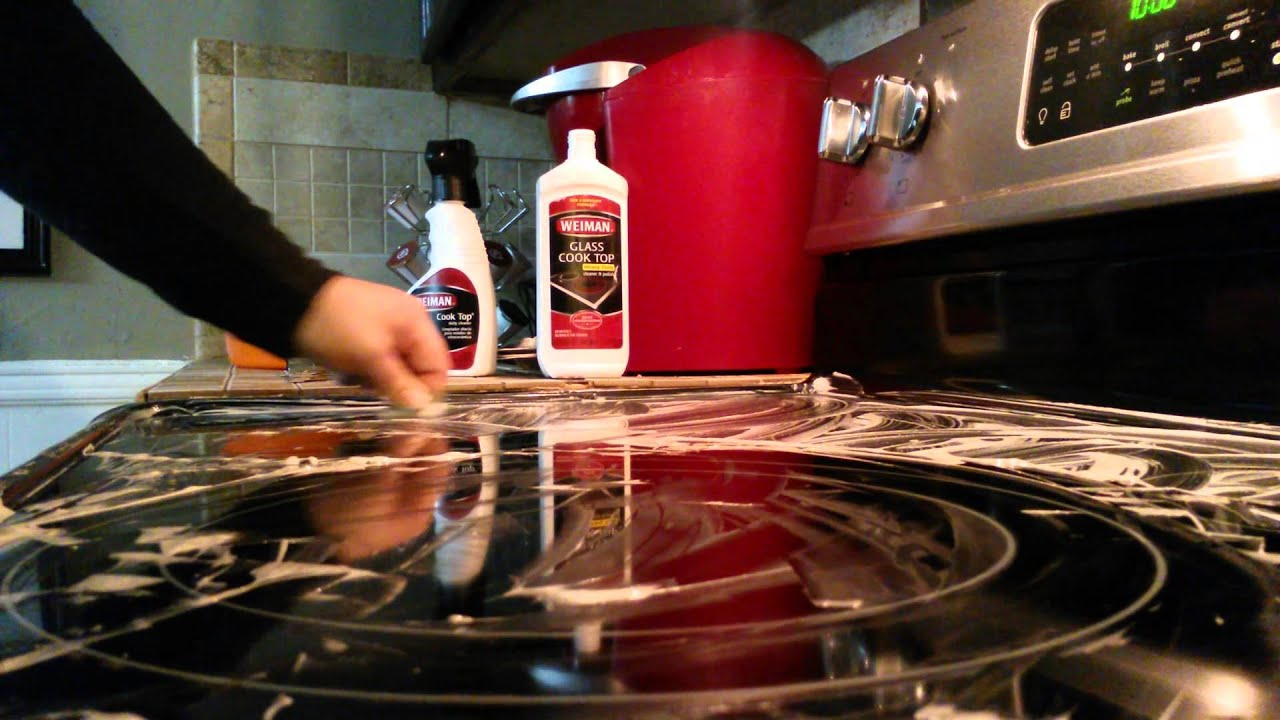 How to clean dirty caked on glass top stove and make it How to clean top of oven
