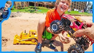 Monster Trucks for Children With Bruder Bulldozer at the Beach!