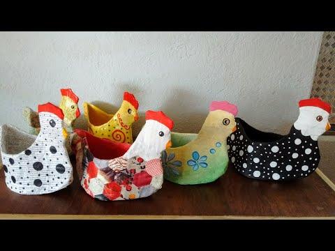 Artesanato Galinha porta treco de papelão e jornal - porta ovos do lixo ao luxo