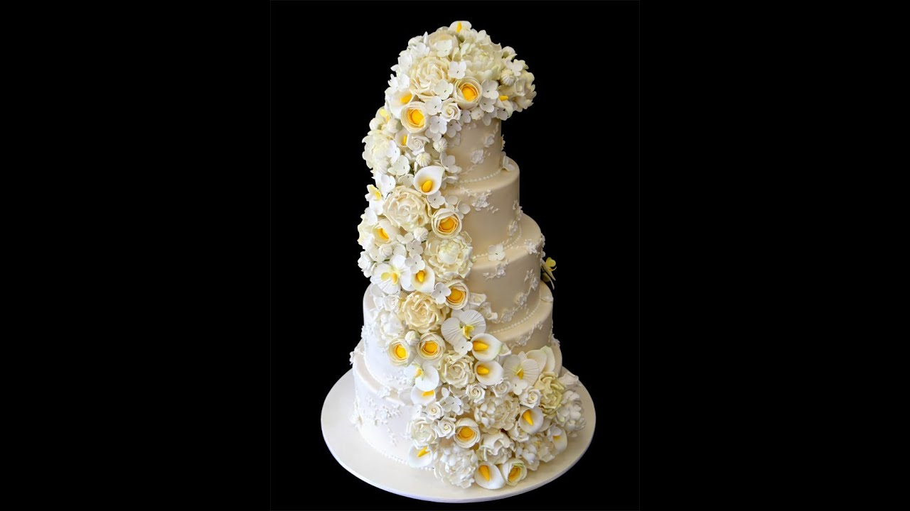 Dress Inspired Floral Cascade Wedding Cake
