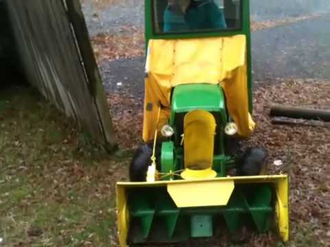 Jason's John Deere 110 with cab and snow blower