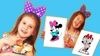 Toys and colors  for kids .Pretend play  painting minnie mouse  on coloring pages.
