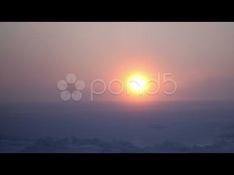 4K Arctic Storm Sun Time Lapse, Bering Sea, Sea Ice, Alaska. Stock Footage