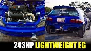 FAST 243HP K24 LIGHTWEIGHT CIVIC STREET RACING & ROLL RACING