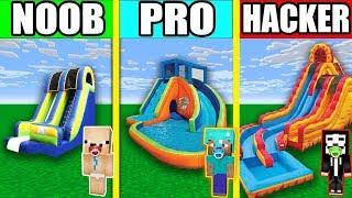 Minecraft NOOB vs PRO vs HACKER : Bouncy Water Slide IN MINECRAFT! ANIMATION!