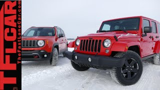 2015 Jeep Renegade Trailhawk vs Wrangler Off-Road Snowy Mashup Review
