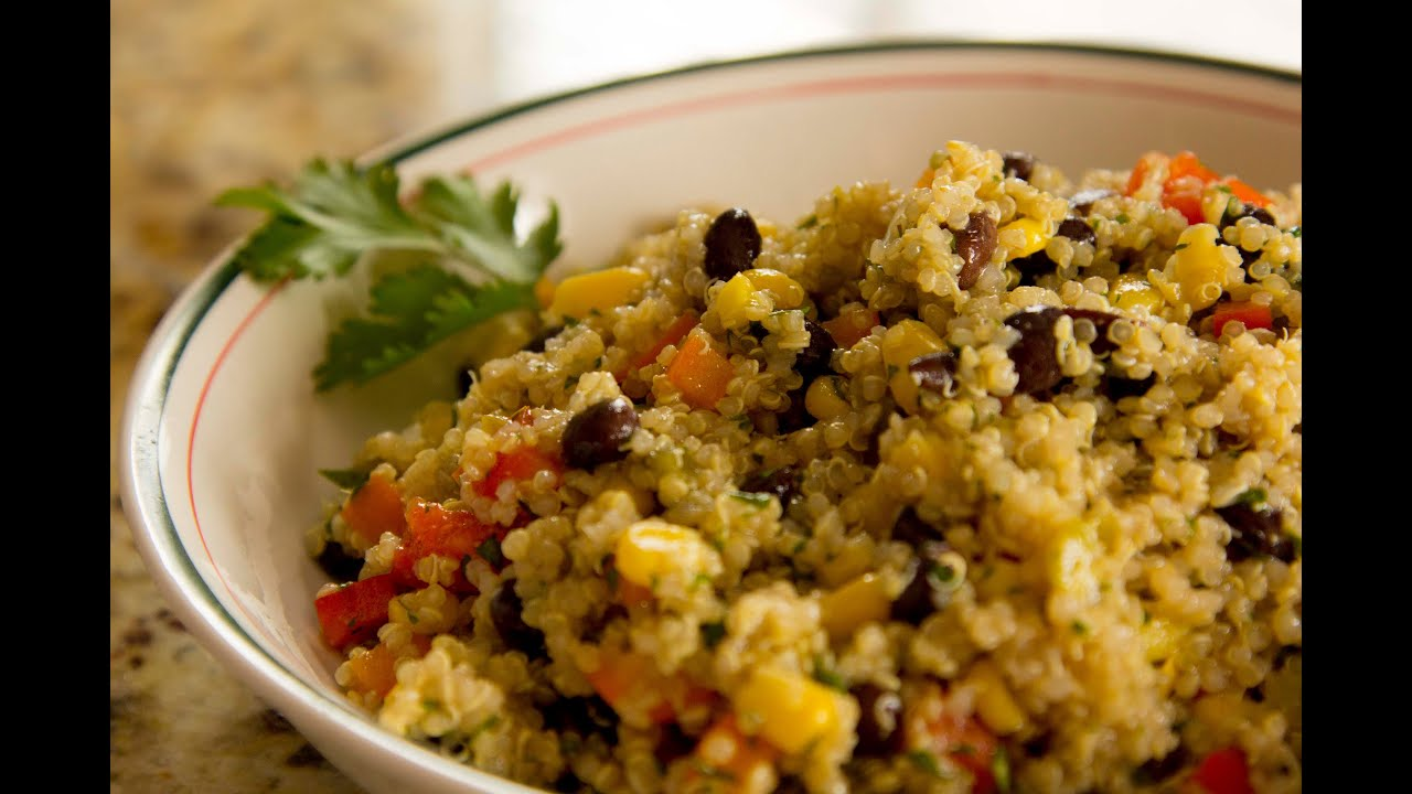 Quinoa and Black Bean Salad Vegan Recipe - YouTube