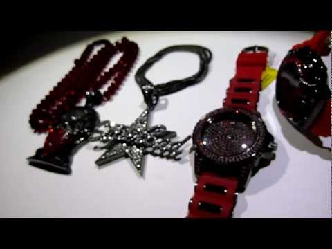 (SOLD)Black/Red Boondocks deal! Gangsta Riley +SuperBad Pendant+Diamond-Cut Chain +2 Watches +Franco
