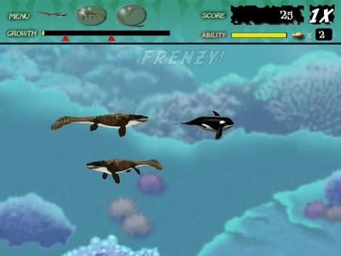 feeding frenzy custom level : dinosaur sea youtube