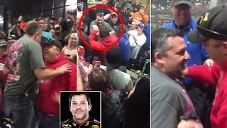 Tony Stewart confronts heckler in grandstands at Chili Bowl