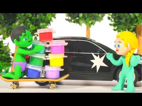 SUPERHERO BABIES PAINT THE CAR  ❤ Superhero Babies Play Doh Cartoons For Kids