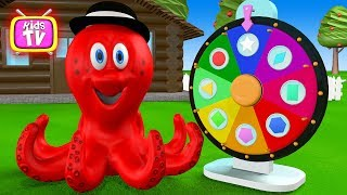 Learn colors figurines with octopus - Roulette with figurines - Cartoon for Kids