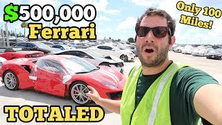 I Found a $500,000 Ferrari 488 Pista SITTING at a Salvage Auction! Only 100 Miles on it NOW TOTALED!