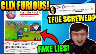 Clix GOES OFF On Fortnite First For FAKE FaZe Clix Video! Khanada TWITCH BAN Because ZAYN..