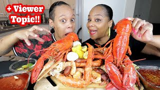 WHOLE LOBSTER SEAFOOD BOIL MUKBANG!!!