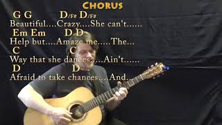 Beautiful Crazy (Luke Combs) Fingerstyle Guitar Cover Lesson with Chords/Lyrics - Capo 4th