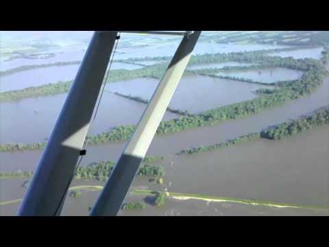 Missouri River levee breach floods Percival, IA. June 30, 2011 - New Version