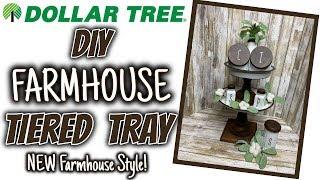Dollar Tree DIY FARMHOUSE TIERED TRAY | Dollar Tree Farmhouse Decor DIY