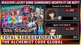 Massive Lucky Dime 9300 Gems Summon For Noctis Soul Shards! Worth It Or Not? (The Alchemist Code)