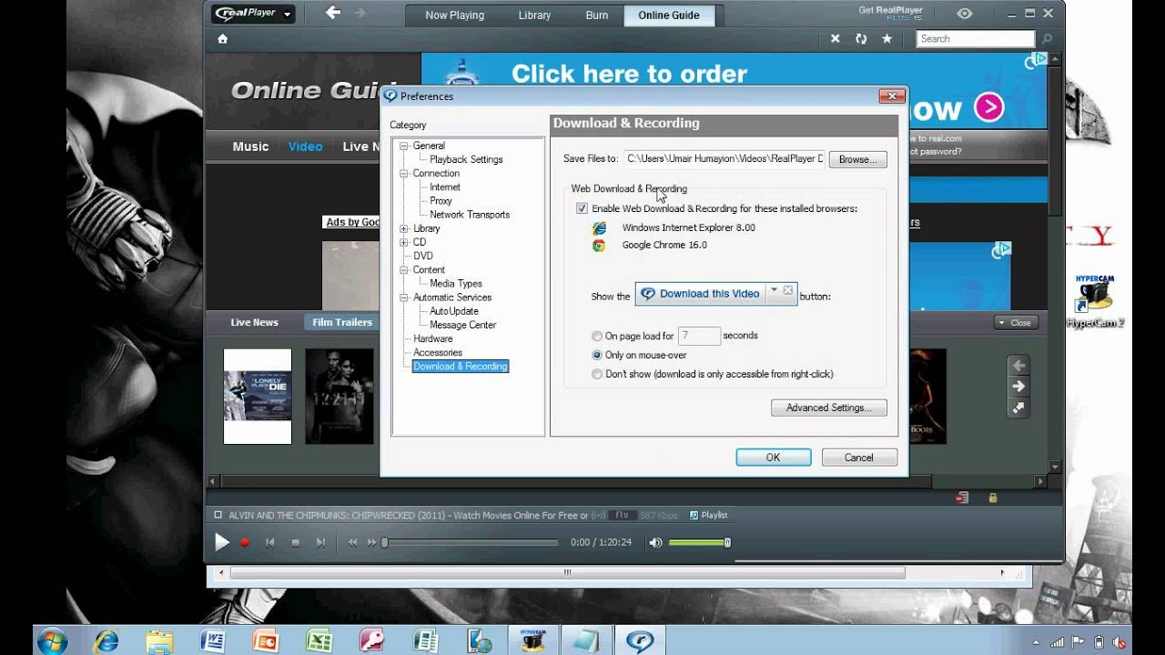 How to download a movie using realplayer.. - YouTube