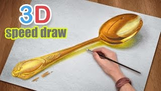 Drawing AMAZING realistic spoon/ painting in 3D