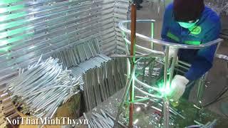 Sản xuất khung nhôm bàn ghế cafe nhựa giả mây ngoài trời tại xưởng cơ khí Minh Thy Furniture
