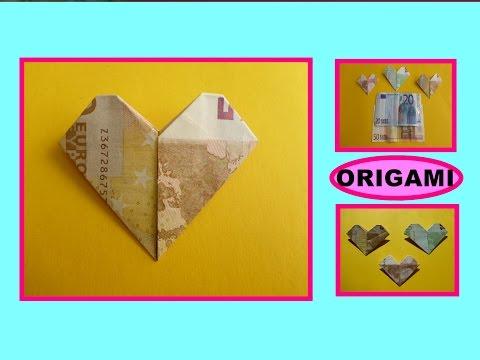 DIY ORIGAMI Geldschein - Herz schnell und einfach falten, Geschenk, easy gift ideas