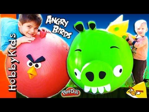 4 MEGA GIANT EGGS! Angry Birds + Bad Piggies Surprise Trashies Toy and Play-Doh Eggs HobbyKidsTV