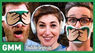 3 Monkeys Blindfold Challenge ft. Mayim Bialik