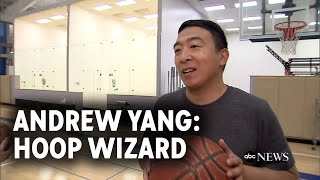 Andrew Yang shoots hoops day before debate