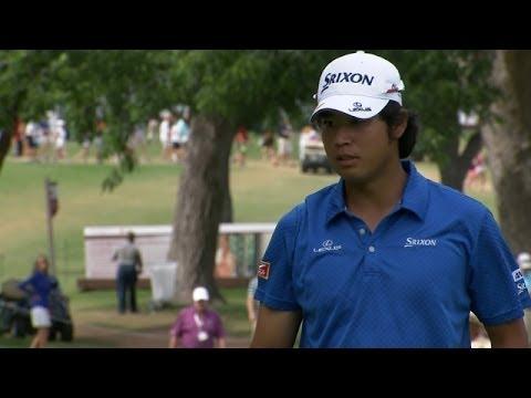 Hideki Matsuyama converts a 21-foot putt for birdie at Crowne Plaza