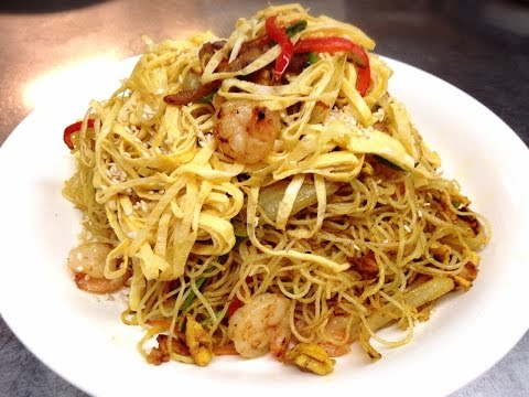 Stir Fry Singapore Noodles Recipe With Shrimps And BBQ Porks 星洲炒米粉 By CiCi Li