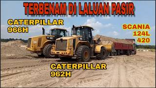 TWO CATERPILLAR UNITS PUSH OFF THE SCANIA SAND TRUCK. Part 4