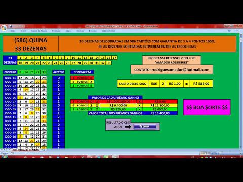 586 QUINA 33 DEZENAS GARANTIA DE 3 A 4 PONTOS 100%