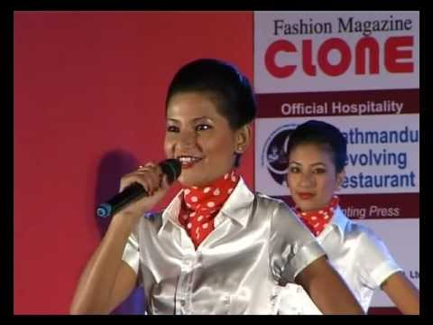 Miss Discipline Sandhya Lama, Flytech Student at Miss Airhostess Contest.