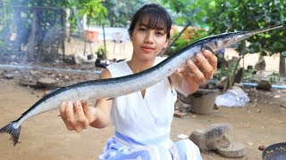 Primitive Technology: Cooking skill special sea fish | Cooking skill