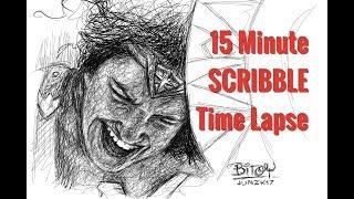 Wonder Woman Scribble Time Lapse