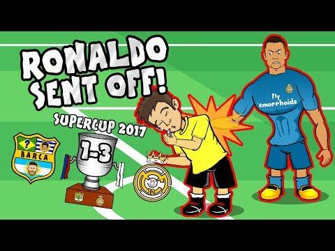 🔴RONALDO RED CARD🔴 CR7 shoves the ref! Barcelona 1-3 Real Madrid PARODY (Supercup 2017) thumbnail