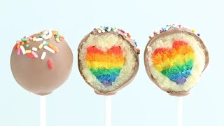 """Eugenie Cake Pops"" Rainbow Heart Cake Pops DIY Rainbow Treats"