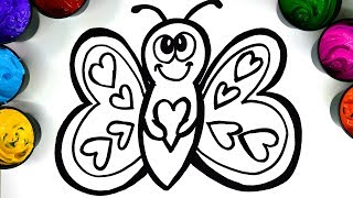 Coloring a happy butterfly with Paint, Drawing a butterfly so children can learn to draw color paint