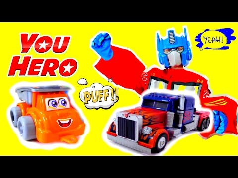 Marvel superhero Optimus Prime! TRANSFORMERS Superheroes videos for kids! Трансформеры