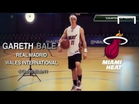 Gareth Bale smashes the NBA half-court challenge