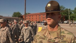 Students meet US Army Drill Sergant - ROTC Cadet Summer Training Fort Knox