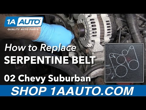 How to Install Replace Forward Serpentine Belt 2000-08 V8 5.3L Chevy Suburban 1500