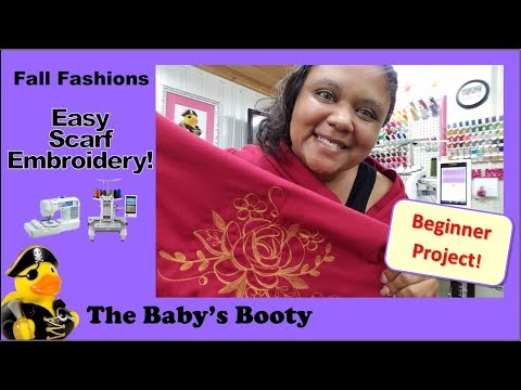 Beginner Embroidery Projects: Fall Fashion!  Simple Scarf Embroidery!