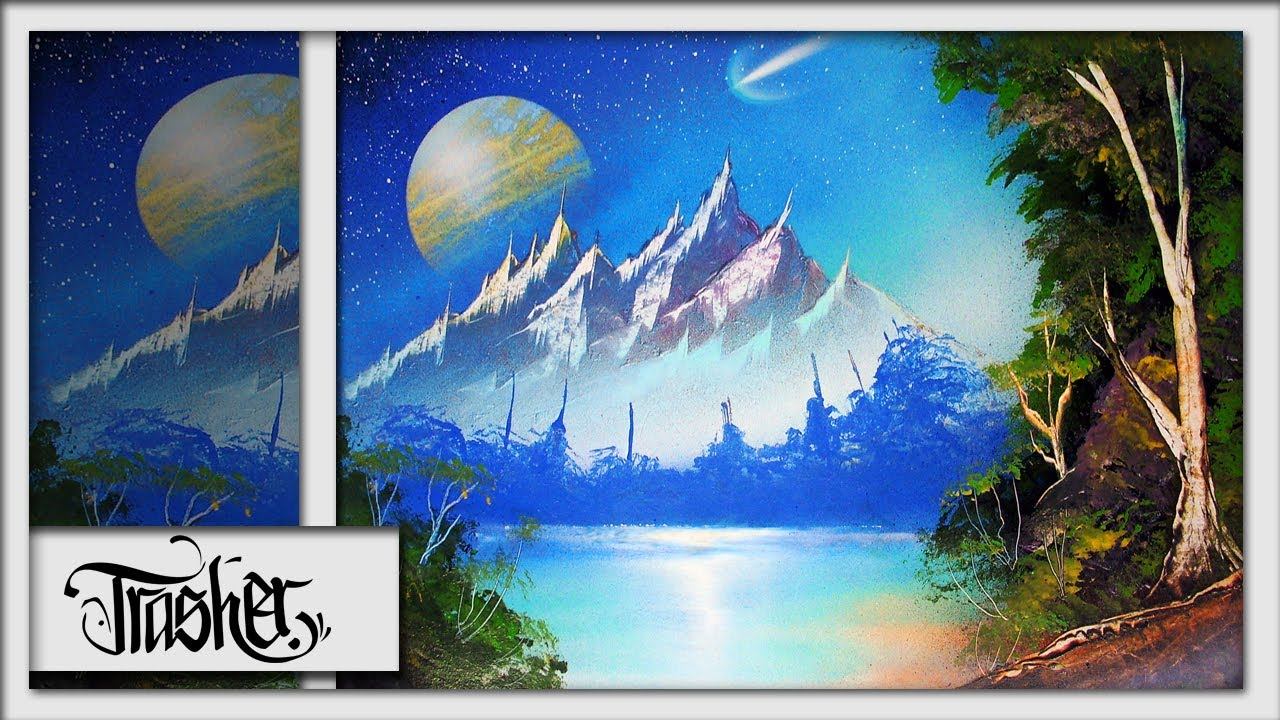 spray paint art advanced nature scene by trasher youtube. Black Bedroom Furniture Sets. Home Design Ideas