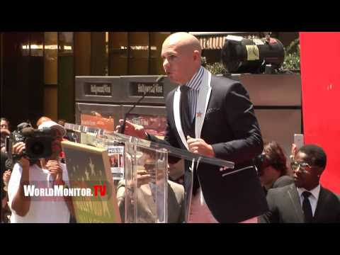 Pitbull touching Speech at JLO – Jennifer Lopez Hollywood walk OF Fame Ceremony
