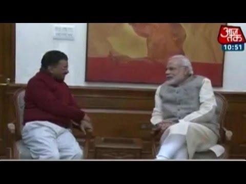 Photos of Kejriwal meeting PM Modi at 7RCR, Delhi