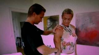Swedish female bodybuilder getting her subcutaneous fat measured
